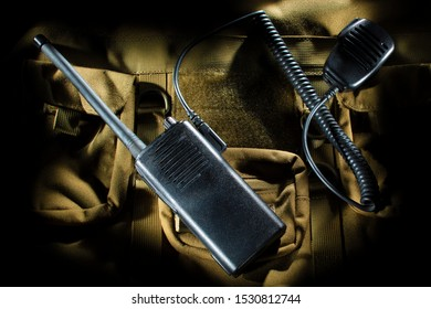 Walkie Talkie with a microphone attached on a nylon bag