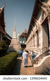 Walkin monk in the temple