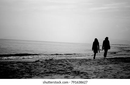 Walkin on beach