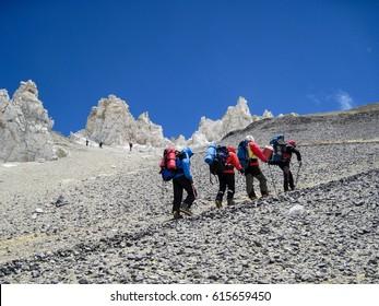 Walking up Aconcagua, Climbers. Lunar Landscape