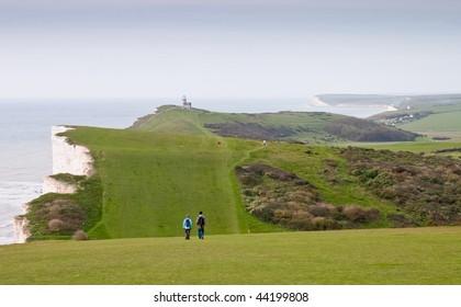 Walking across Beachy Head. undulating Landscape and erode chalk cliffs