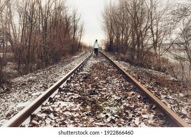 walking alone on the railway