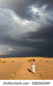 Walking alone to the storm
