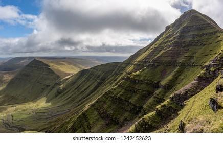 Walking along the ridge of Pen-Y-Fan, Breacon Beacons in Wales