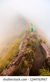 Walking along the rim of the Batur volcano at dawn surrounded by fog near Ubud, Bali, Indonesia