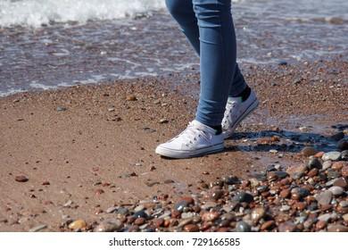 walking along the seaside