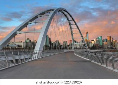 Walking Along The Walterdale Bridge At Sunset