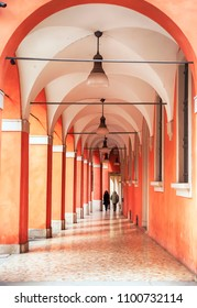 walking aria by arcades in Bologna, Italy