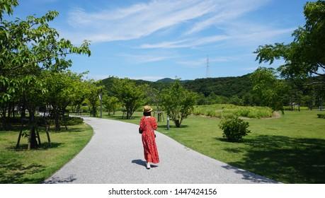 Walking aroud the green park