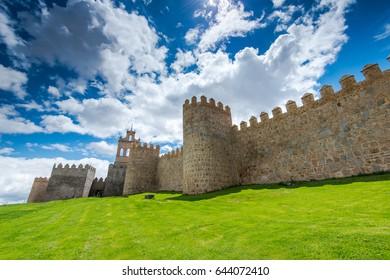 Walking around Avila defence walls at summer day