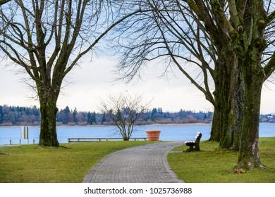 Walking around Lake Chiemsee. Prien am Chiemsee. Germany