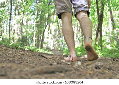 walking barefoot through the forest