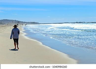 Walking in the beach