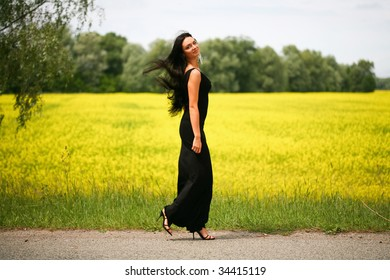 Walking beautiful young woman