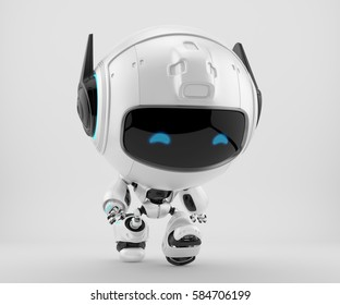 Walking black-white robot pr manager, unusual robotic character with funny prick-ears, 3d rendering