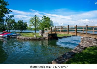 A walking bridge along Cayuga Lake in Central New York
