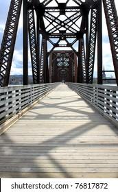 Walking bridge going over the Saint John River in Fredericton, New Brunswick, Canada