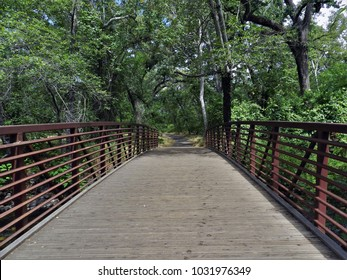 Walking bridge over creek in Bidwell Park. Chico, California.