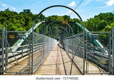 Walking bridge over the Thames River in London, Ontario