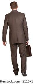 Walking businessman with briefcase