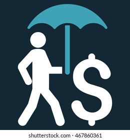 Walking Businessman With Umbrella icon. Glyph style is bicolor flat iconic symbol with rounded angles, blue and white colors, dark blue background.