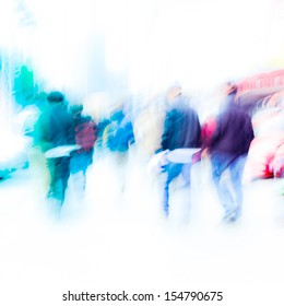 walking city pedestrian crowd on street road abstract