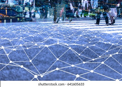Walking crowd and mesh communication network concept. Internet of Things. Smart city. Information Communication Technology.