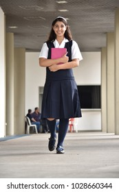 Walking Cute Colombian School Girl Student Teenager