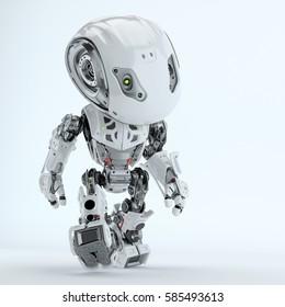 Walking cute robot in front 3d rendering