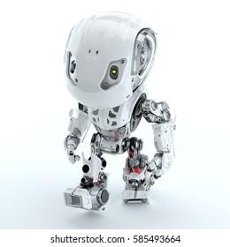 Walking cute robot in top view 3d rendering