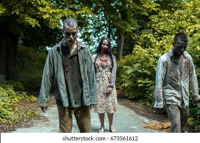 Walking dead, zombies in an abandoned place