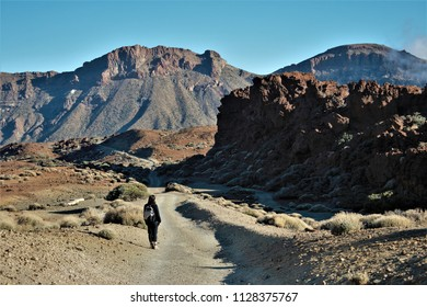 walking for desert, Series of photographs of the Cañadas in the Teide National Park, in Tenerife,Canary Islands, Spain,