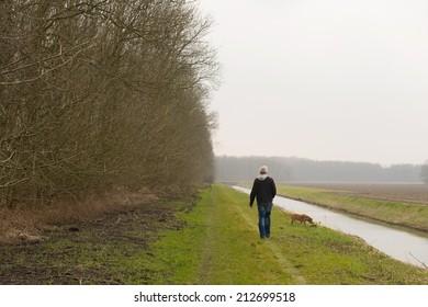 Walking the dog in Dutch flevopolder