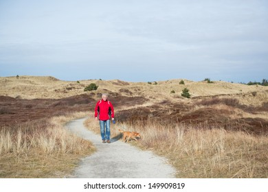 Walking with the dog in wintertime in the dunes