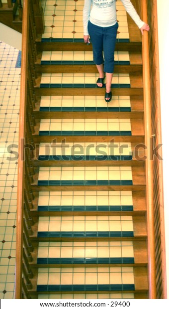 walking down the stairs