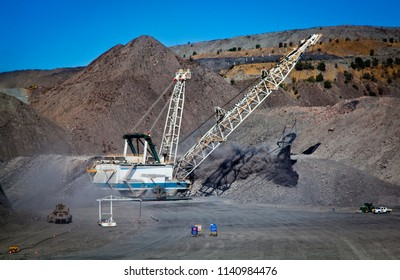 Walking Dragline, Draglines are enormous mobile excavating machines used in open-cut mining to move large quantities of overburden exposing the coal seam. All logos removed in photoshop.