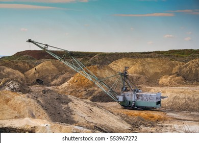 walking dragline excavator with a bucket for ten cubic meters of clay quarry in the Zaporozhye region of Ukraine