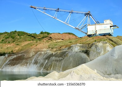 Walking Dragline excavator in the chalk quarry near the village of Krasnoselsk, Volkovysk region, Republic of Belarus