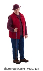A walking female senior looks to viewer 2