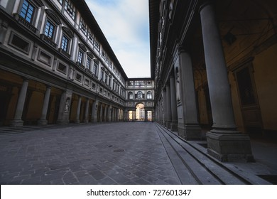 Walking in Florence at dawn. Uffizi Gallery museum, Florence, Tuscany, Italy.