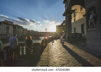 Walking in Florence, Tuscany. Ponte Vecchio. Long exposure and blurred motion effect.