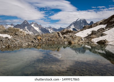 Walking in the French Alps. Lac Blanc Lake, Chamonix, France, Europe.