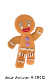 Walking ginger bread man for Christmas on white background