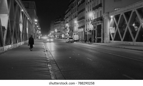 Walking home at night through the streets of Paris