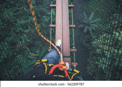 Walking legs and feet on wooden bridge with safety tools and surrounded by black net. Under bridge is tropical evergreen forest.