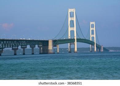Walking Mackinac Bridge - Michigan, USA. Bridge open for walkers -  Labor Day.