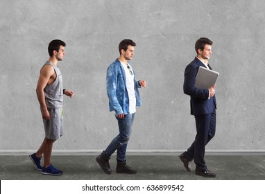 Walking man in business, sport and casual look. Full length portrait.