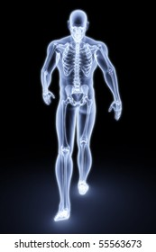 walking man under X-rays. 3d render.
