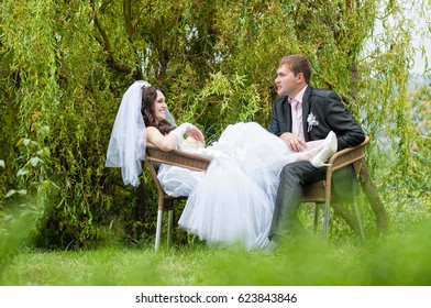 Walking newlyweds in nature