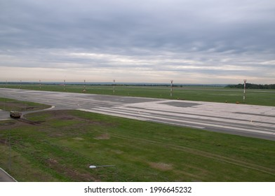 Walking on the airfield of one of the Russian airports